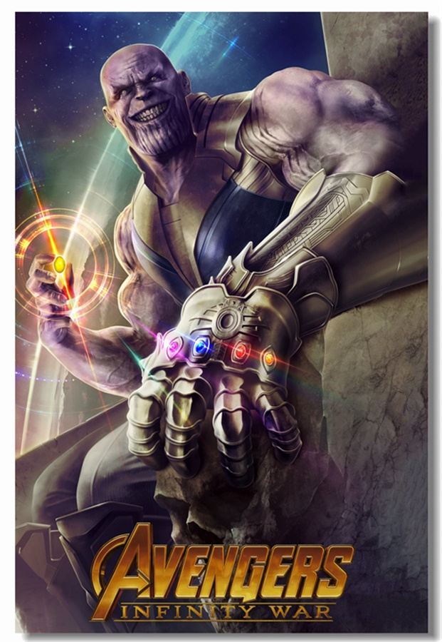 Custom Canvas Wall Mural Thanos Marvel Comics Poster