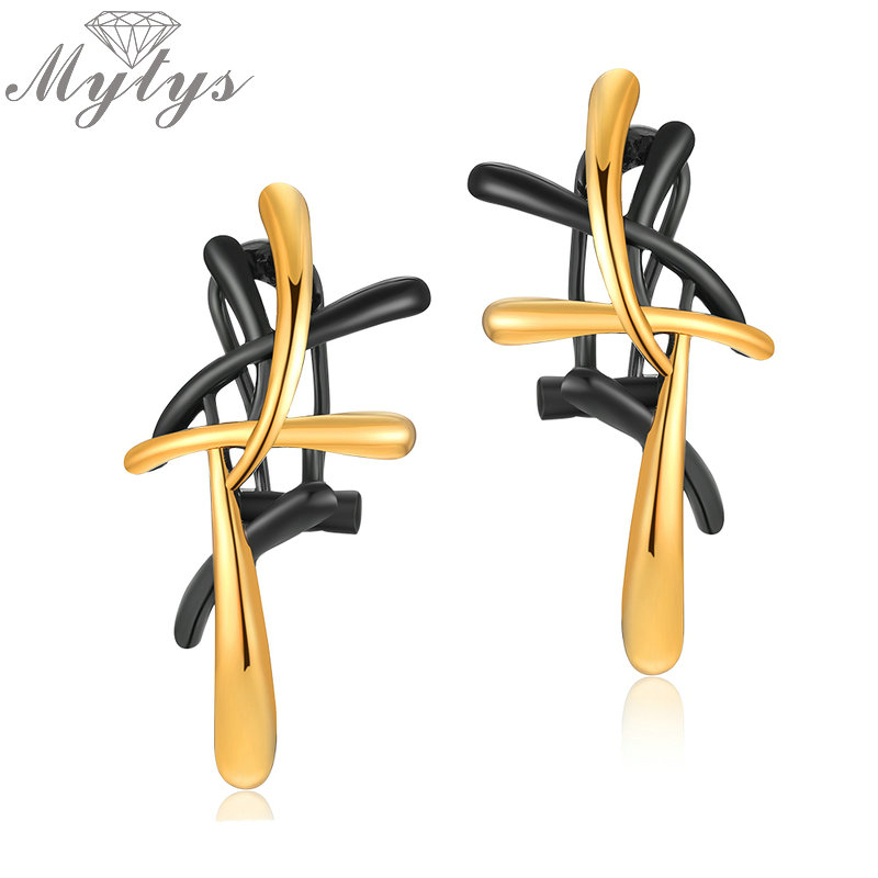 Mytys Black and Gold Two-tone Color Metallic Earrings Statement Cross Geometric Fashion Earring for Women Jewelry CE341