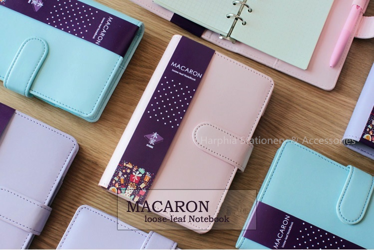Macaron Lovely Notebook Filofax Planner PU Leather Spiral Refillable Travel Journal agenda notepad A6 A5