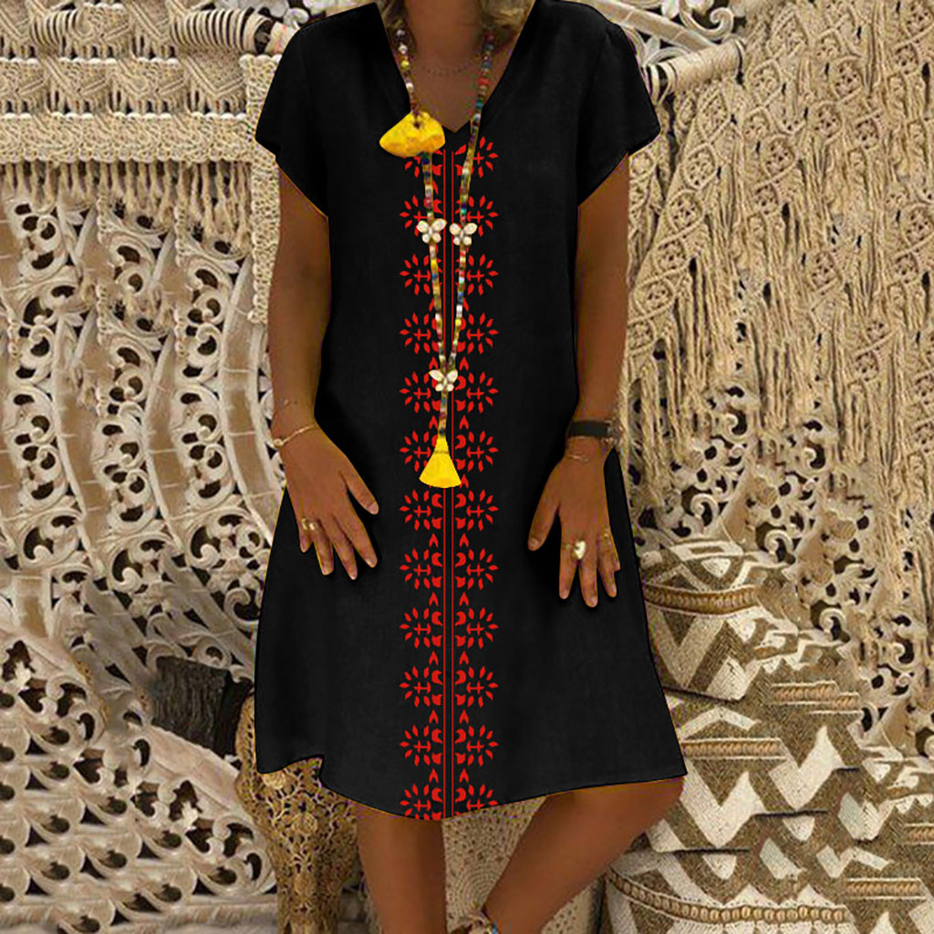 Women Summer Dress Style V Neck Printed Cotton And Linen Casual Plus Size Ladies Dress Fashion Innrech Market.com