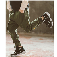 New Baby Boy Pants Children Cotton Casual Cargo Pants for Boy Bloomers Army Green Patch Pocket Vintage Retro Trousers Teen 4 12Y