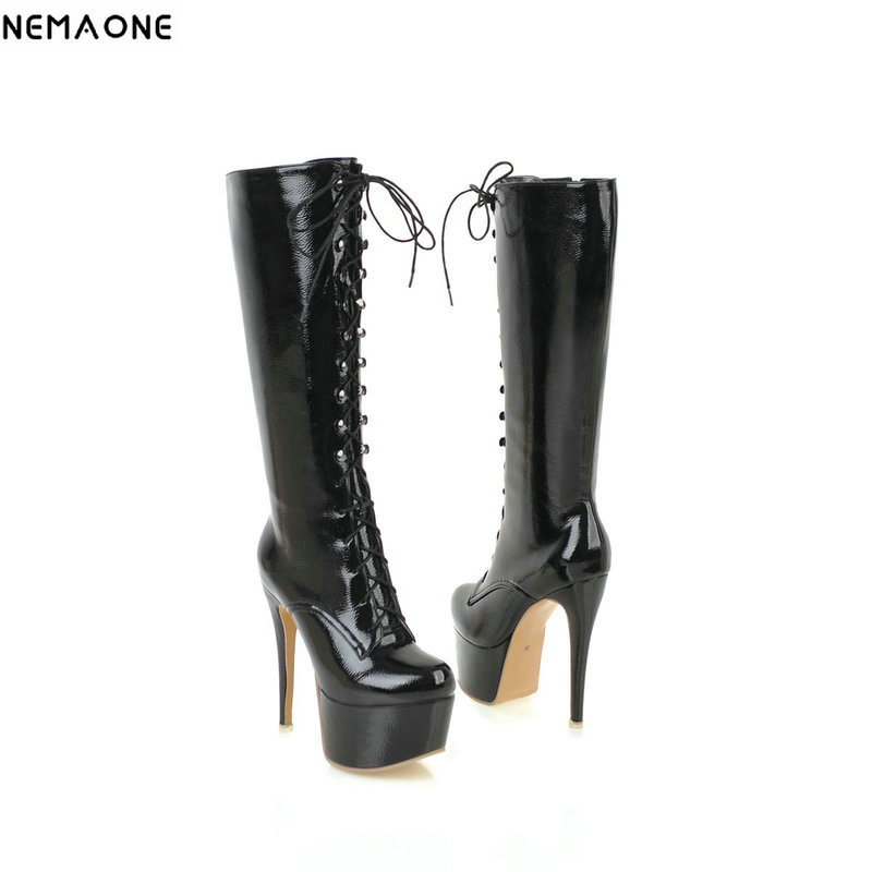 NEMAONE 14cm super high heels knee high boots woman rouned toe platform black white red lace up ladies boots party shoes woman nemaone fashion women s lace up knee high boots lady autumn winter high heels shoes woman platform yellow black white high boots