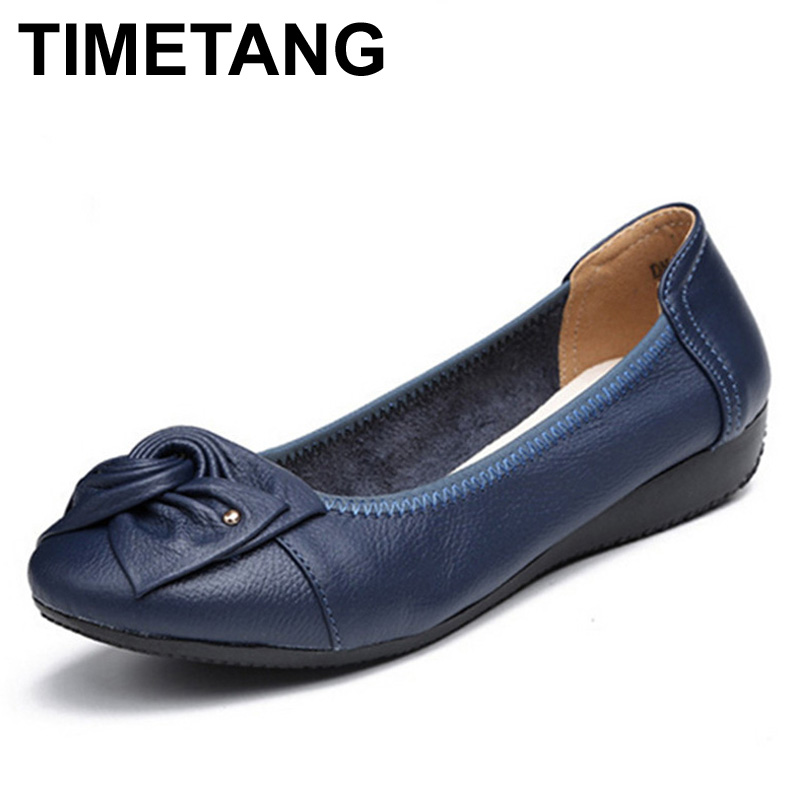 TIMETANG Plus Size Spring\Autumn Genuine Leather Shoes Woman Flats Work Classi Fashion Bowknot Female Casual Ballet Ladies Shoes beyarne rivets decoration brand shoes flats women spring autumn fashion womens flats boat shoes sexy ladies plus size 11
