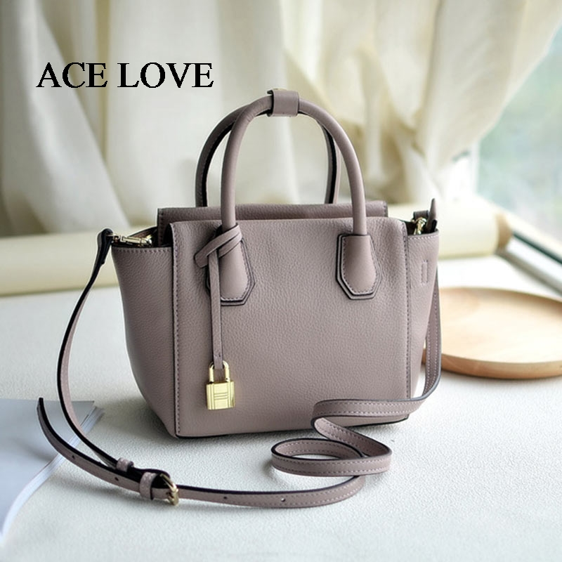 Genuine Leather Bags Ladies Famous Brand Lock Designer Women Handbags High Quality Tote Bag for Women Fashion Shoulder Bags real leather tote bag women genuine leather handbags designer high quality shoulder bags handbags women famous brand big captain