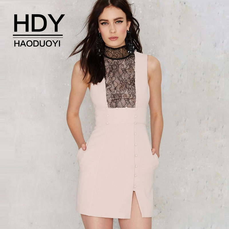 HDY Haoduoyi Brand <font><b>Women</b></font> Pink <font><b>Lace</b></font> <font><b>Sexy</b></font> Party Mini <font><b>Dresses</b></font> Turtleneck Sheer <font><b>Backless</b></font> Hollow Out Female Bodycon Vestidos Lady image