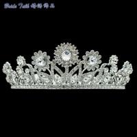 Elegant Sunflower Tiara Clear Realy Austrian Crystals Crown Bridal Wedding Hair Jewelry Accessories Women Headpiece SHA8732