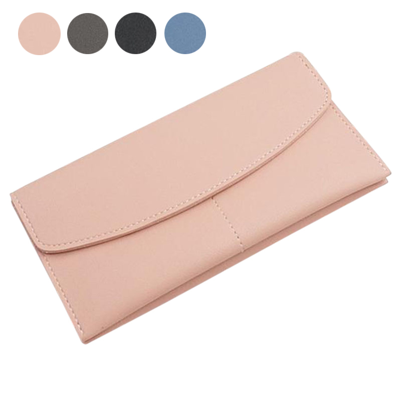 Simple Fashion Korean Women Purse Solid Color Leather Handbag Long Wallet Ladies Girls Clutch Coin Bag High Quality LBY2 simple fashion women handbag solid color clutch bag leather envelope bags ladies over shoulder package 88 wml99
