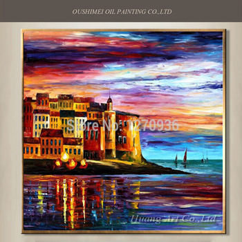 Good Qulaity Competitive Price Big Wholesale Hand Paint Italy Landscape Oil Painting on Canvas Beautiful Sunset Venice Scenry