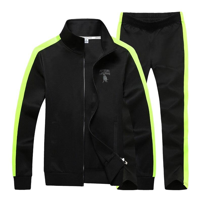 AmberHeard Men Tracksuit Set Fashion Spring Autumn Sporting Suit Jacket+Pants Sweat Suit 2 Piece Set Sportswear For Men Clothes
