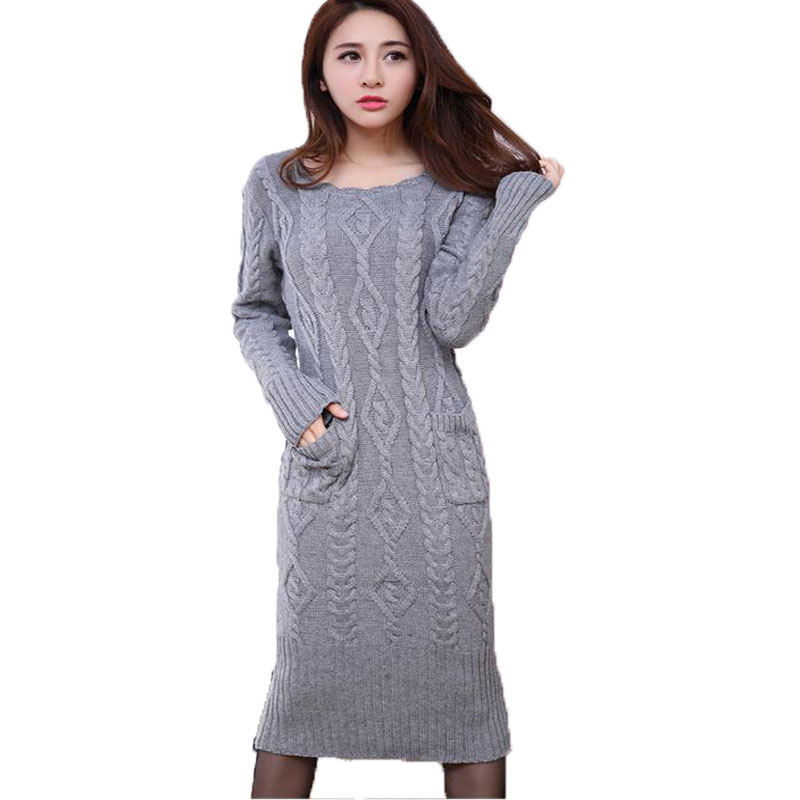 Long Robe Femme 2017 New Women Slim Long Sleeved O-neck Solid Pullover Knitted Dress Autumn Winter Basic Twist Sweater Dresses fashion 2018 women autumn winter sweater dresses slim turtleneck sexy bodycon solid color robe long knitted office ol dress 1089