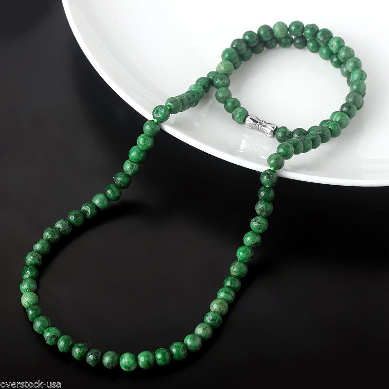 CERTIFIED GRADE A Dark Green Jade Jadeite 5mm Beads Necklace / 20inch