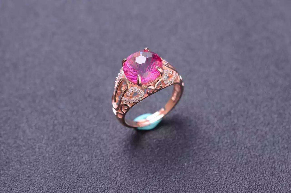 все цены на Natural Fireworks pink topaz gem Ring Natural gemstone ring 925 sterling silver trendy Elegant Hollow women girl party Jewelry