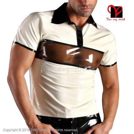 Сексуальный Латекс рубашка Поло turn down воротник Белый с прозрачной черной Резины рубашки одежда Верхняя clothing plus размер XXXL