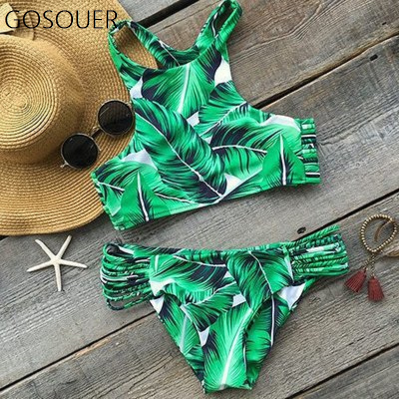 AIFEI <font><b>2018</b></font> <font><b>Sexy</b></font> <font><b>Bikini</b></font> Swimwear Fashion Women's Tropical Leaves Printing Tank Padding <font><b>Bikini</b></font> Set Bathing Suit Floral Biquini image
