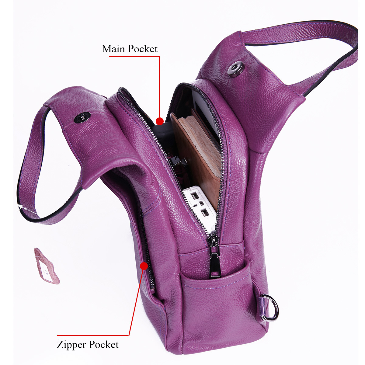 BONAMIE Purple Genuine Leather Backpack Women Brand School Backpack Real Leather Female Mochila Shoulder Bags For Teenage Girls-in Backpacks from Luggage & Bags    3