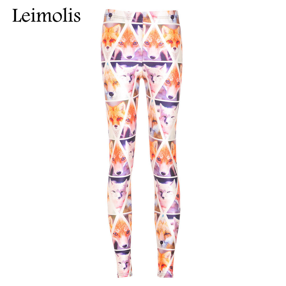 Leimolis 3D printed fitness push up workout leggings women Lovely Fox plus size High Waist punk rock pants