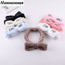 For Women OMG Letters Butterfly Bow Hair Band Coral Fleece Wash Face Headband Girls Headwear Fashion Hairbands Accessories