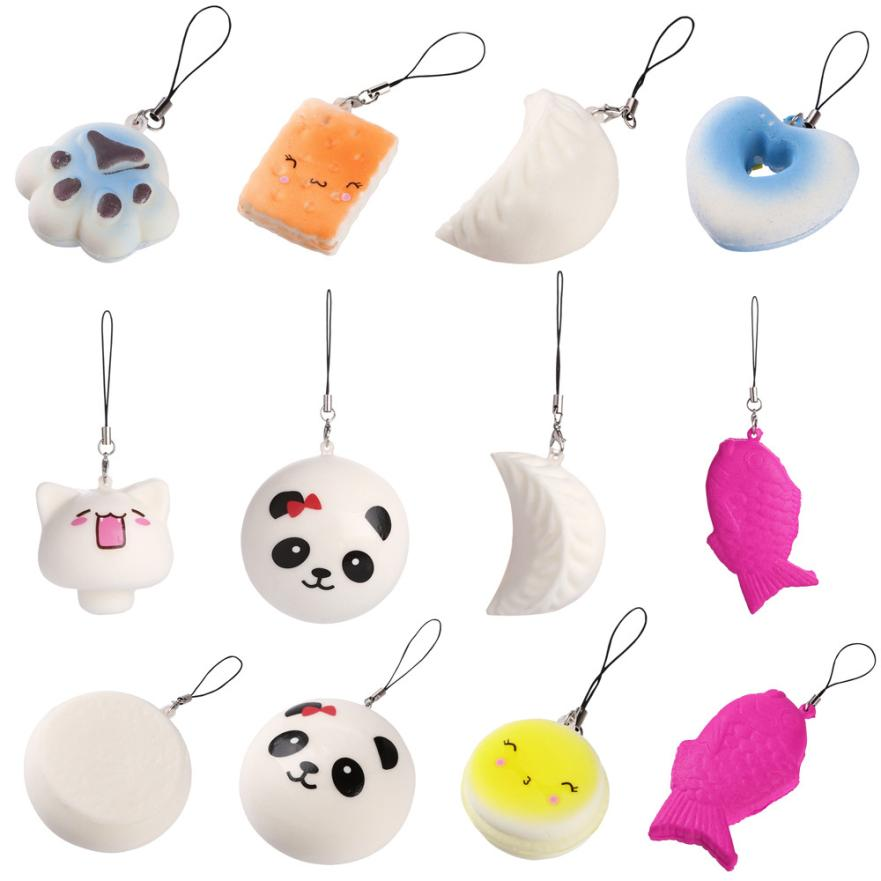 10PCS Cute Squishy Toy Jumbo Medium Mini Random Soft Phone Straps Gift Pack Squeeze Toys Exquisite Gift Stress Reliever