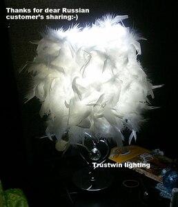 Image 2 - Прикроватная лампа для чтения фойе, гостиная, в форме сердца, с белыми перьями, Хрустальная настольная лампа, светильник