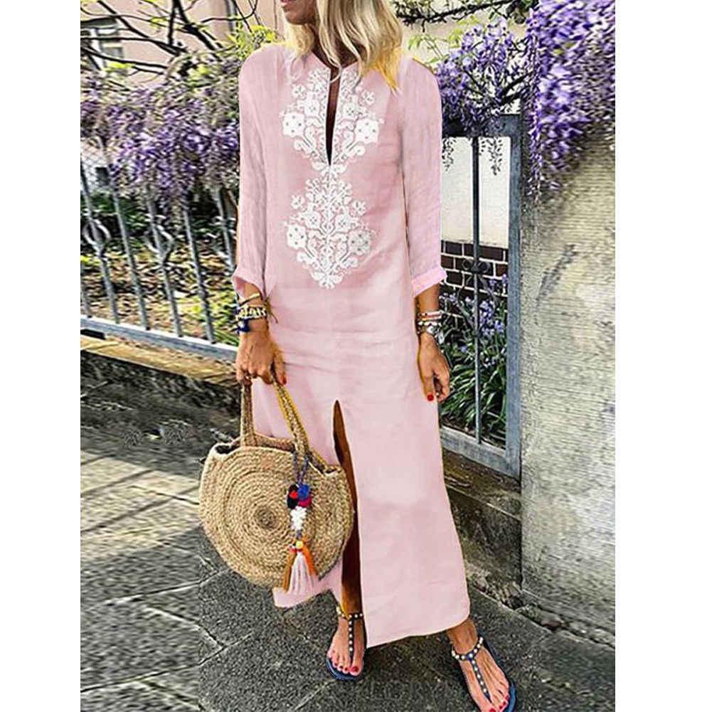 2018 Latest Style Women's Long Sleeve V Neck Beach Embroidered Floral Long Kaftan Dress Summer Boho Maxi Dress