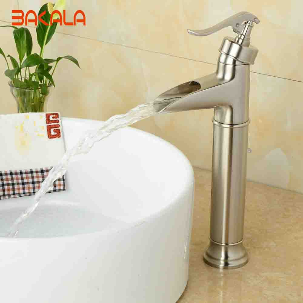 все цены на BAKALA Bathroom Brushed Nickel Basin Sink Faucet Deck Mounted Single Handle Basin Mixer Tap GZ-8006L онлайн