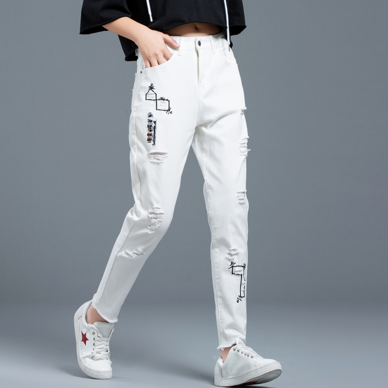 Wqjgr White Jeans Female Spring And Autumn New Ripped Jeans For Women Embroidery  High Waist Jeans Women