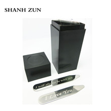 SHANH ZUN Stainless Steel Shirt Stiffeners Stays Bones Engraved Love Notes Letterings Stiffeners, Bones, Shirt, Collars shanh zun personalized customize engraved stainless steel metal collar bones shirt tabs stiffeners inserts golden gift for men