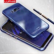 Luphie бренд класса люкс оригинал 9 h закаленное стекло задняя крышка + алюминиевый металлический каркас shell для samsung galaxy s8 s8 плюс случаях