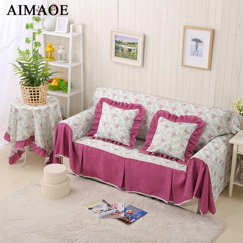 Cotton U0026 Polyester Pastoral Plaid Sofa Cover Floral Slipcover Flower Stripe  Corner Sofa Towel 1/2/3/4 Seater Couch Cover
