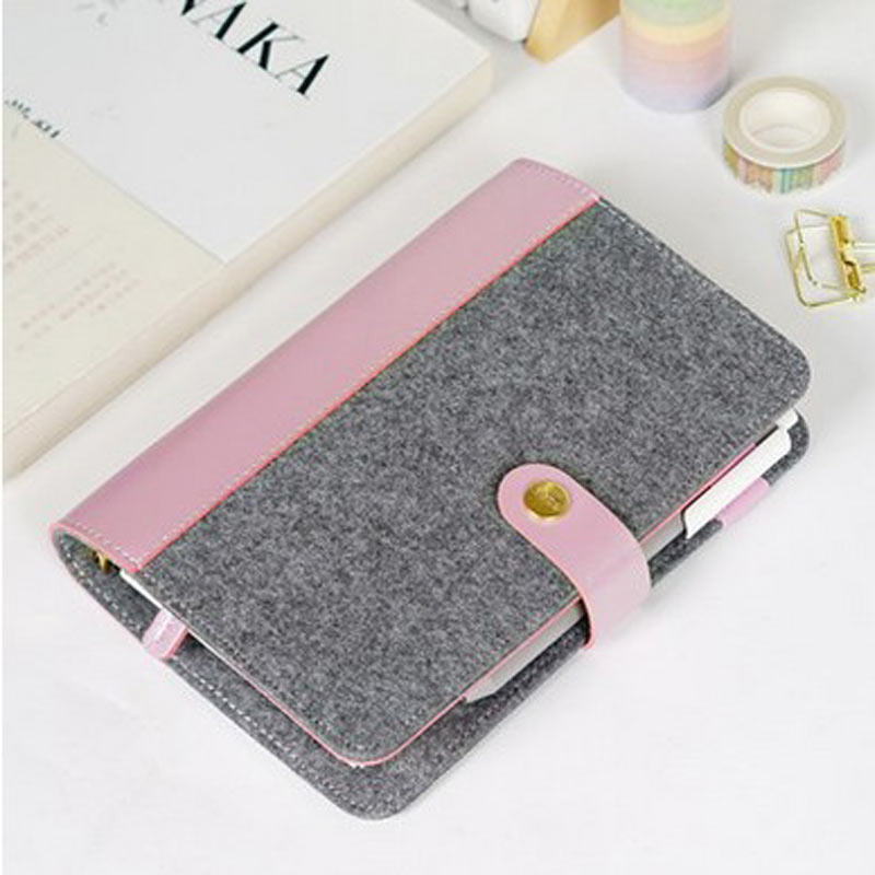Japanese Personal Dairy Felt With Pu Leather Travel Journal Golden Ring Office Binder Notebook Cute Kawaii Agenda Planner A5 A6 japanese personal dairy felt with pu leather travel journal golden ring office binder notebook cute kawaii agenda planner a5 a6