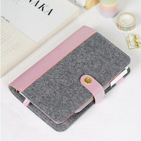 Japanese Personal Dairy Felt With Pu Leather Travel Journal Golden Ring Office Binder Notebook Cute Kawaii