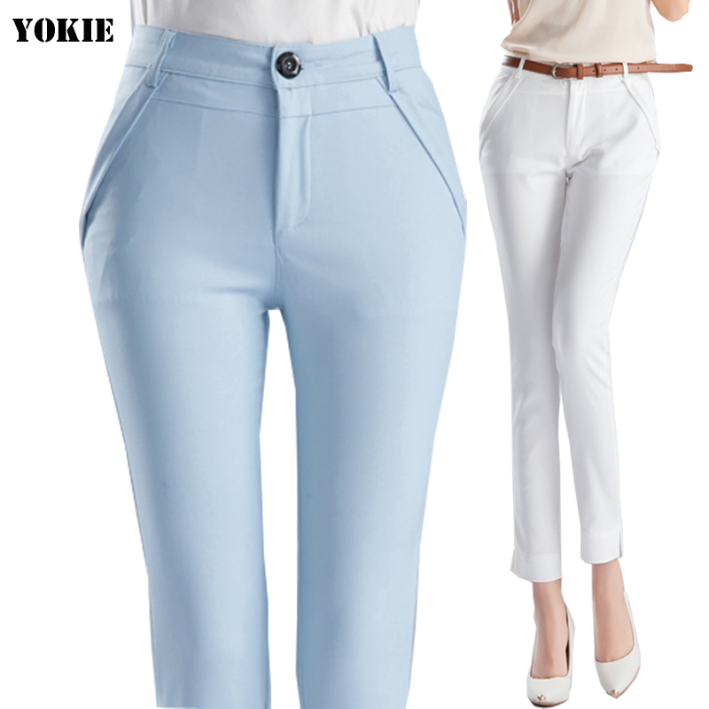 High waist elegant woman office pants trousers work Capris ...