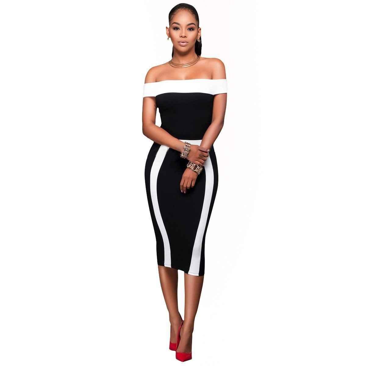 968b7003e6 Womens Sexy Summer Off Shoulder Black Bodycon Peplum Formal Party Evening  Mini Pencil Dress
