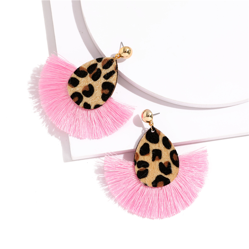 Bohemia Leopard Dangle Drop Earrings Biscuits Round Resin Cheetah Tassel Earrings for Women sector Jewelry Pendientes oorbellen 9