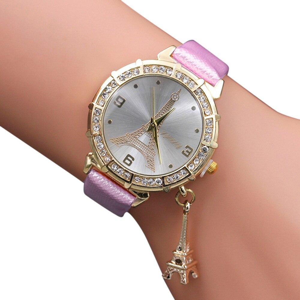 Hot Sale Women Quartz Wrist The Eiffel Tower Rhinestone  Pendant Wrist Watch Female Clock Relogio Feminino Colorful Watches