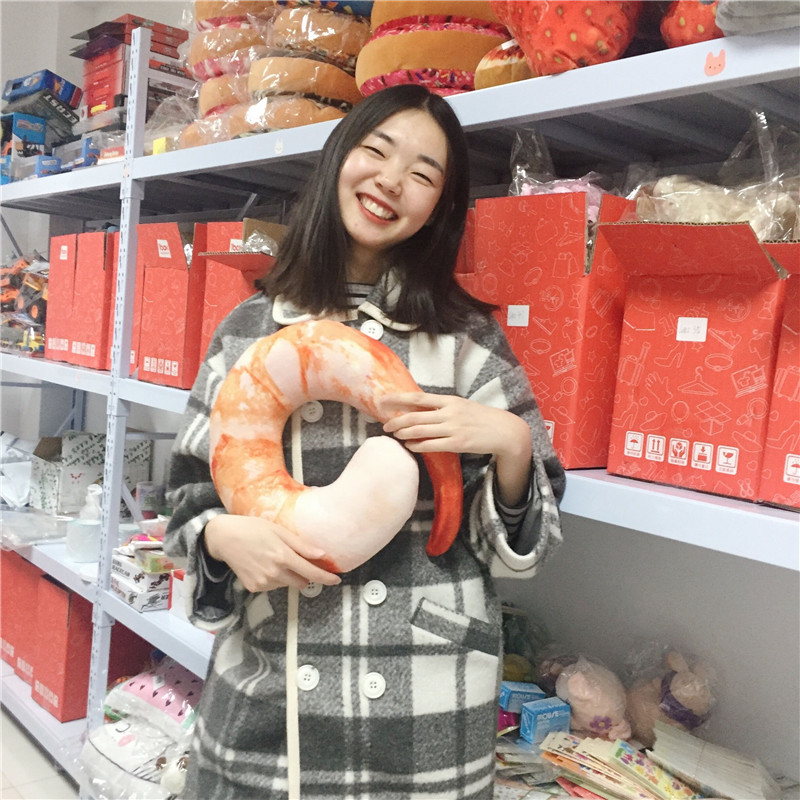 ᗚ2017 New Creative Plush Peeled Prawns Stuffed Animals Plush Toys U