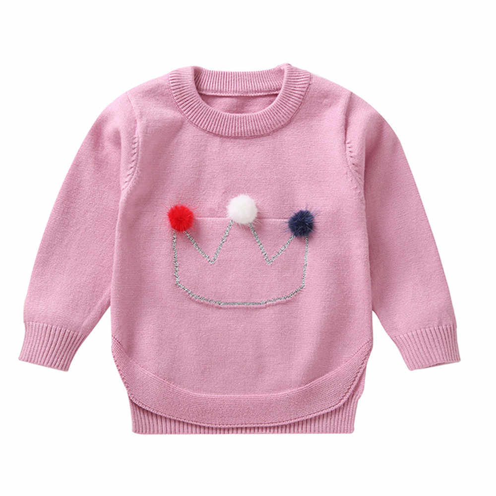 Children Clothing Autumn Winter Cotton Sweater Top Toddler Infant Baby Girls Crown Hair Ball Long Sleeves Sweater