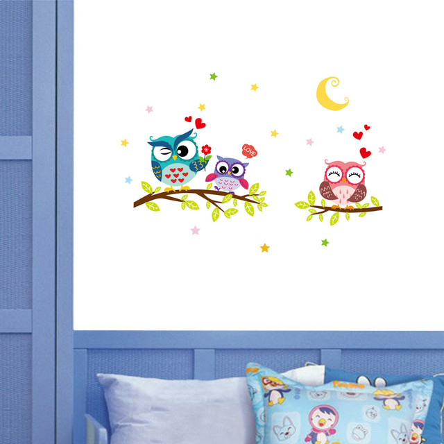 43cm*63cm Removable Waterproof Cartoon Animal Owl Wall Sticker For Kids Rooms PVC Wallpaper for Room Home Decorations Decor