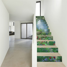 JERMYN 6Pcs/Set 3D Stairway Stickers Room The Forest World DIY Stairs Stickers Floor Wall Decor Sticker Home Decoration(China)