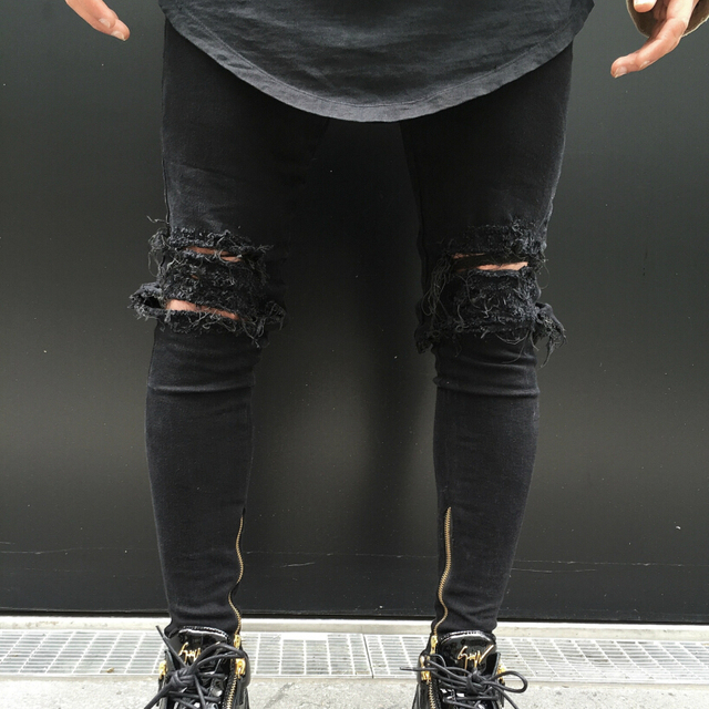 e6e987a421e7 Men black distressed ripped hole biker jeans ankle zipper slim fit denim  pants mens wash water moto stretch skinny jeans