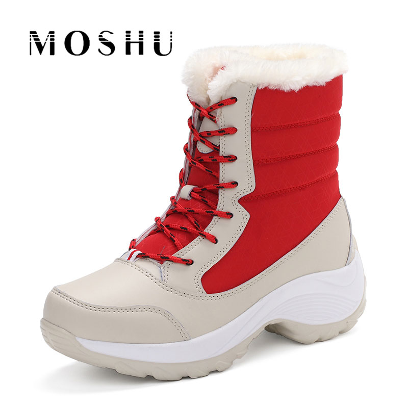 Fashion Winter Women Ankle Boots Female Wedges Lace Up Snow Boots Lace Up Warm Plush Platform Botas esveva casual winter women shoes warm fur lace up snow boots wedges heel platform ankle boots black white plush fashion boots