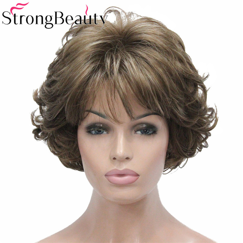 StrongBeauty Short Curly Synthetic Wigs Heat Resistant Capless Hair Women Wig-in Synthetic None-Lace  Wigs from Hair Extensions & Wigs