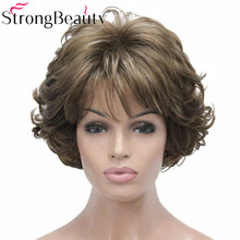 StrongBeauty Short Curly Synthetic Wigs Heat Resistant Full Capless Hair Women Wig недорого