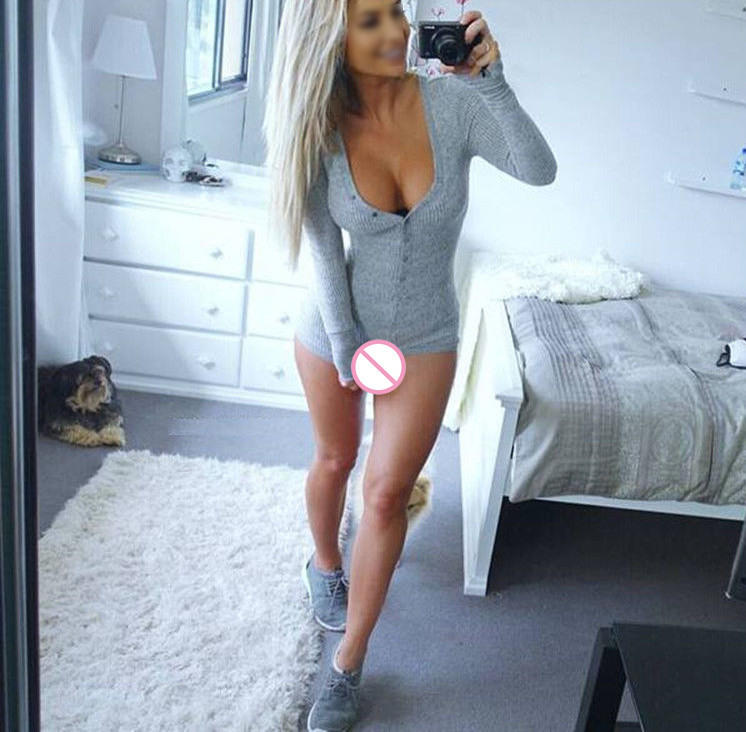 Sexy women Romper jumpsuit v Neck long Sleeve skinny playsuits pure colors western style winter autumn ouc1236 in Rompers from Women 39 s Clothing