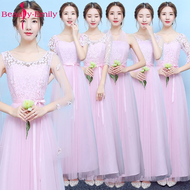 Beauty-Emily Pink Long Floor-Length Bridesmaid Dresses 2017 Sleeveless Elastic V-Neck A-Line Party Prom Dresses In Stock