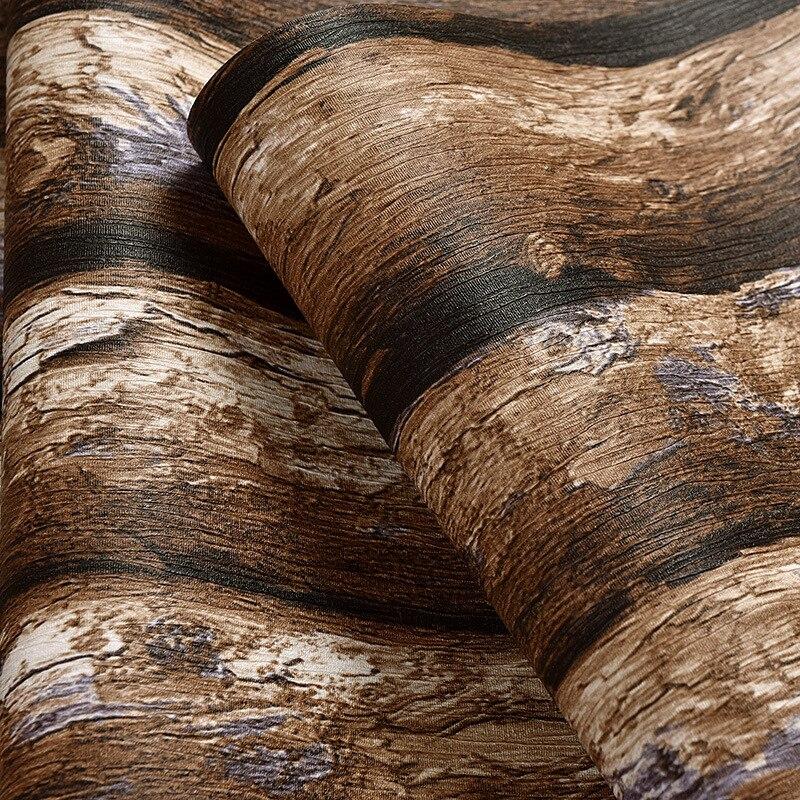 Beibehang Chinesischen Stil Retro Imitation Rinde Tapete Hintergrundbild Einfachen Wohnzimmer Wurde Stereo PVC Holz