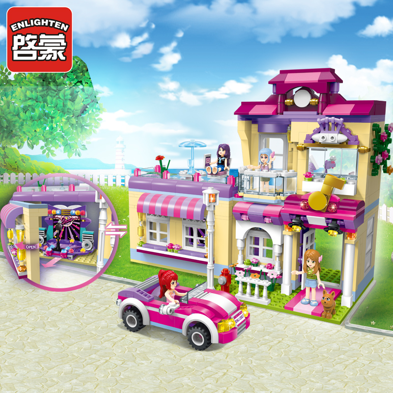 ENLIGHTEN Town Building Blocks Girls Educational Building Blocks City Friends Beauty Center  Model Blocks Toys For Children босоножки instreet босоножки