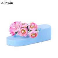 AShwin sommer frauen sandalen handgemachte luxus blume perlen keilplattform tanga hausschuhe gelee farbe sandale lady ferien 35-42