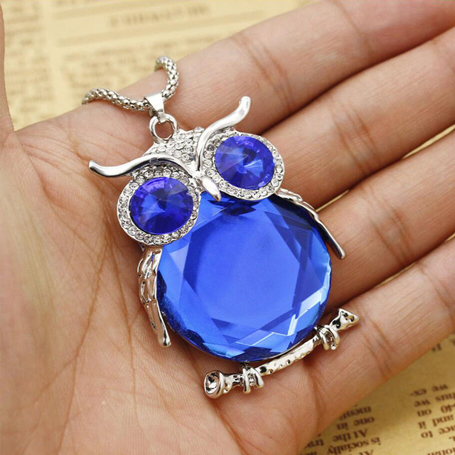 Hot High Quality Vintage Necklaces Zinc Alloy Crystal Jewelry Owl Necklace Pendant Long Chain Necklace For Women