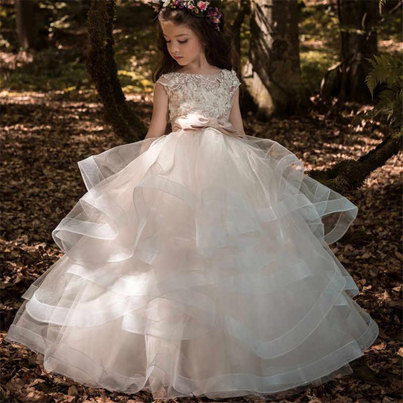 פרח ילדה שמלות אלגנטי שמפניה תחרה Appliqué שרוולים מדורג ילדים תחרות שמלות לחתונות ראשית הקודש שמלות